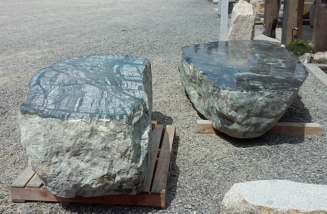 Stone being made into a bench